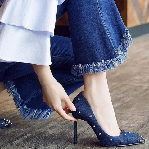 Shallow Rivet Denim High Heels