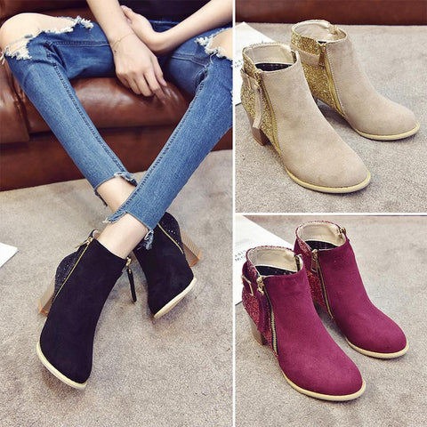 Plain  Chunky  High Heeled  Velvet  Point Toe  Outdoor High Heels Boots