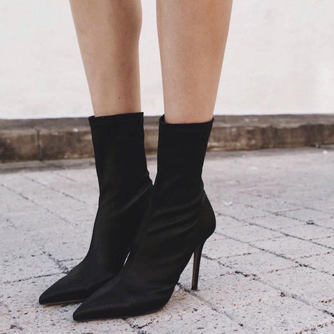 Pointed Stiletto High Heel Ankle Boots