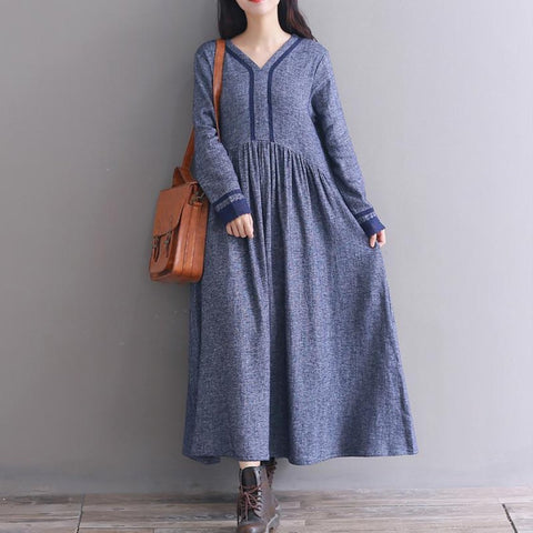 V- Neck Plain Cotton Maxi Dress