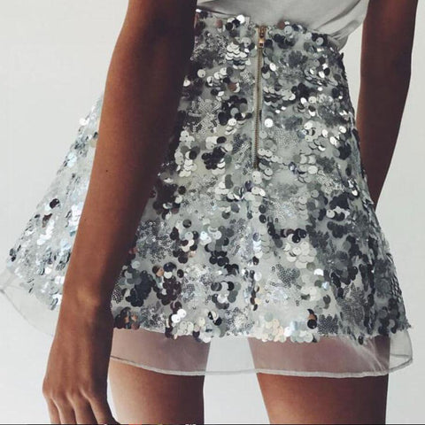 Sexy Sequin Mini Gauze Skirt