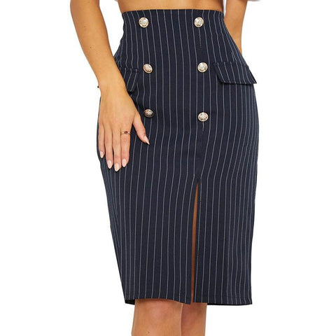 Striped High Waist Side Slit Female Skirt