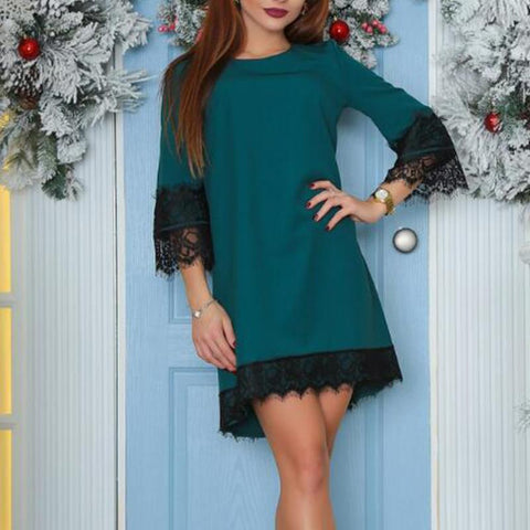 Lace Trumpet Sleeves Loose Dress