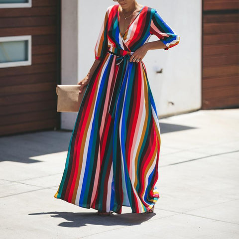 Fashion V Neck Stripe Printed Belt Maxi Dress