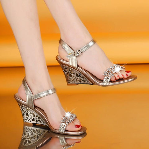 Rhinestone Wedge Sandals High Heel Open Toe Female
