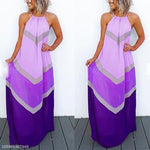 Halter Sleeveless Color Block Maxi Dress