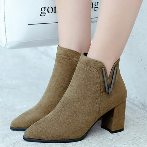 Ladies Stretch Boots Ankle Boots Woman High Heel