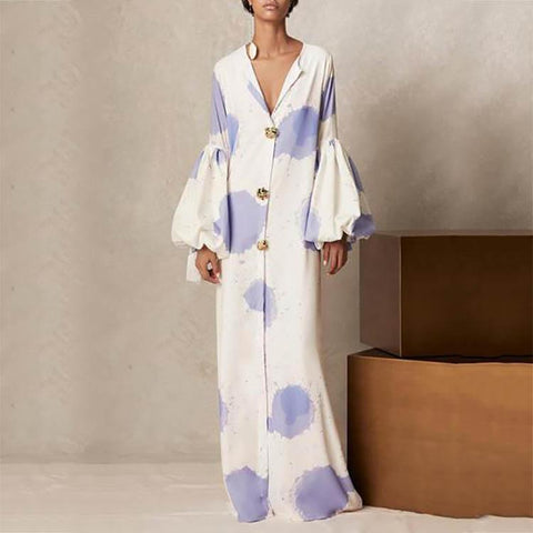 V Collar Printing Loose Casual Maxi Shift Dress