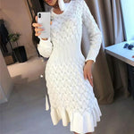 Elegant Chic Slim Plain Elastic Long Sleeve Ruffled Hem Bodycon Dress