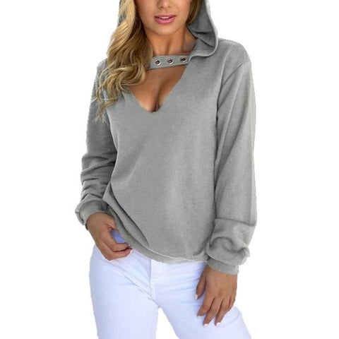 Hooded V Neck Eyelets Long Sleeve Plain Hoodies