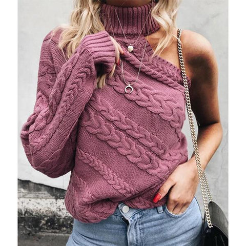 Turtleneck  Cutout  Plain Knitwear