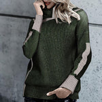 Long Sleeve Patchwork Autumn Knitting Sweaters