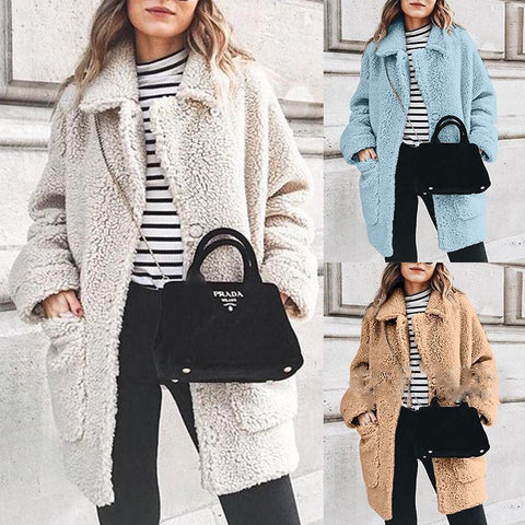 Fashion Lapel Long Sleeve Pocket Button Plain Coats