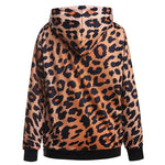 Leopard Print Digital Print Hooded Sweatshirt