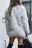 Band Collar  Fur Collar  Plain Outerwear