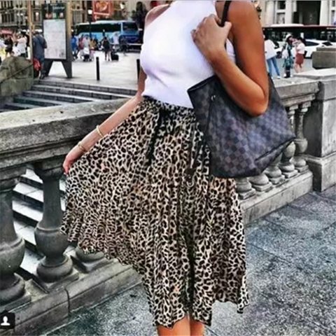 Fashion New Leopard Print Loose Skirt
