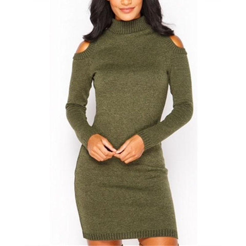 Turtle Neck Long Sleeve Hollow Out Plain Bodycon Dress