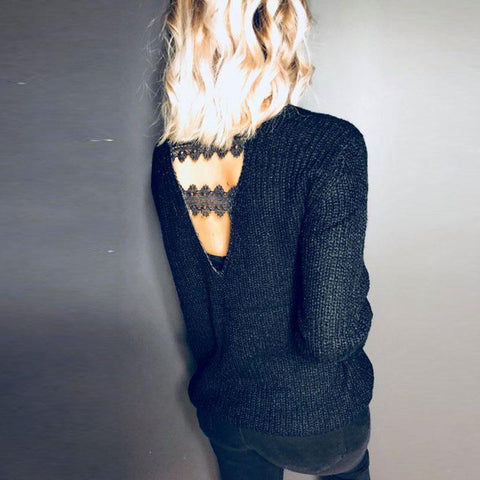 Casual Pure Color Sexy   Deep V Hollow Knit Sweater