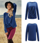 Casual Versatile Long   Sleeve Irregular Knit Top