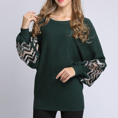 Fashion Round Neck Loose Splicing Knitwear