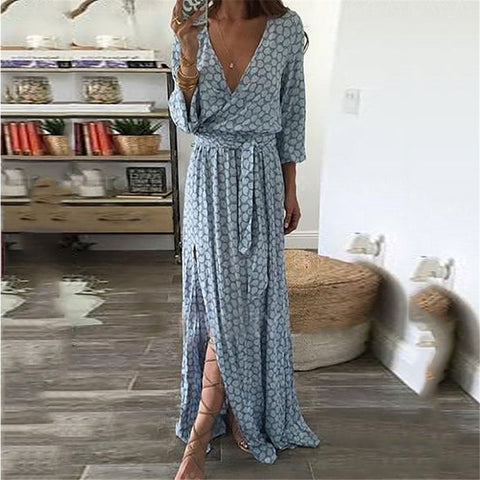Sexy Plaid V-Neck Split Printing Irregular Dress