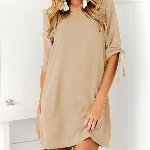 Fashion Chiffon In Solid Color Dress