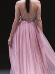 Casual Bare Back V Neck Pure Colour Chiffon Maxi Dresses