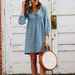 Fashion Plain Long Sleeve Casual Dress