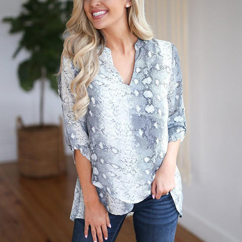 Casual V Neck   Snakeprint Long Sleeve Shirt Blouse