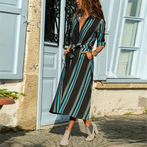 Casual  V Neck Tunic Slim Strips Maxi Dresses
