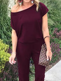 Casual Sloping Shoulde Pure Colour Short Sleeve Jumpsuits