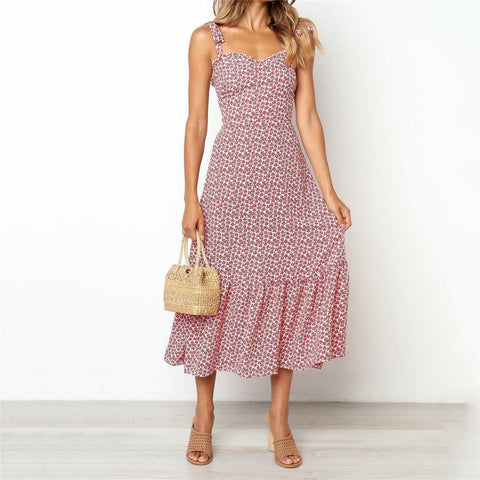 Sexy Suspender Printed Long Dress
