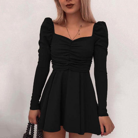 Long Sleeved V-Neck Strap Black Sexy Halter Dress