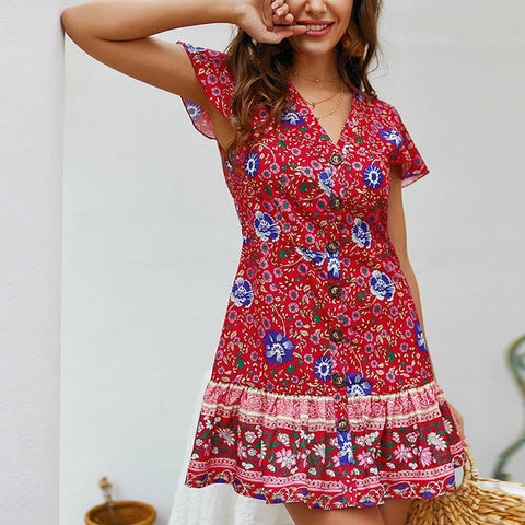 Casual Sexy V Neck   Bohemian Style Floral Print Mini Dresses