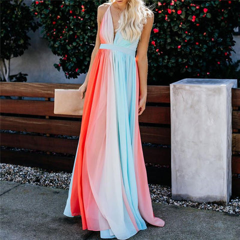 Fashion V Collar Backless Gradient Maxi Dress