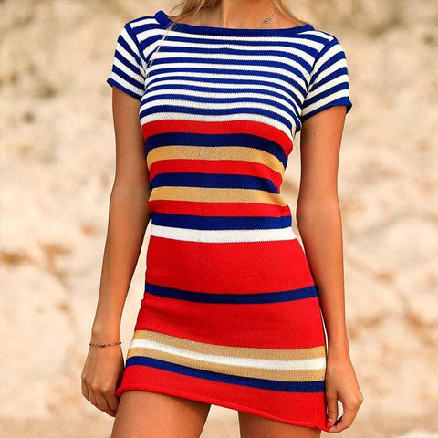 Sexy Striped Short Sleeve Knit Dress