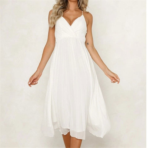 Sweet Plain  Surplice Backless Cross Strap  Skater Dress