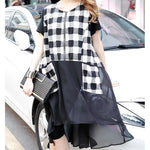 Casual Plaid Chiffon Short Sleeves Dress