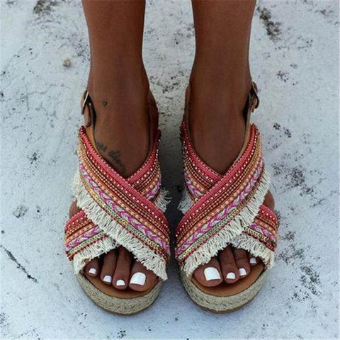 Fashion   Bohemian Ethnic Style Platform Sandals