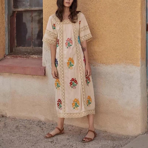 Bohemian Square-Cut Collar Short Sleeve Inwrought Hollow Out Dress