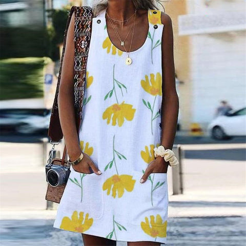 Casual Sleeveless Leaf Pattern Printing Button Shift Dress