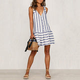Commuting V Neck Stripe Off-Shoulder Single-Breasted Dress