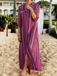Fashion Printed Color Striped Button Short Sleeve Maxi Dress