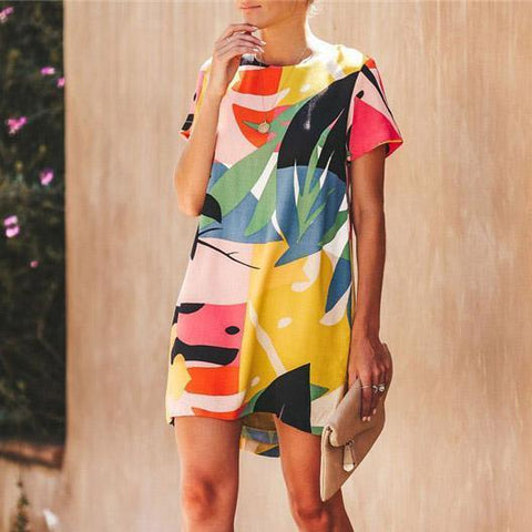 Summer Round Neck Printed Short Sleeves Shift Dress