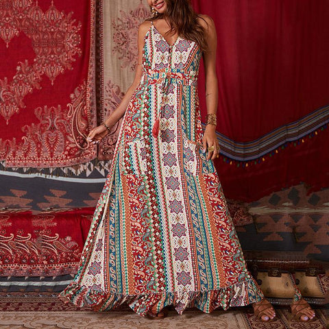 Bohemian Vintage Print V Shoulder Strap Long Dress