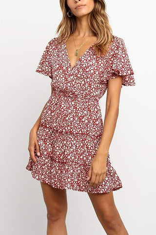 V NECK FLORAL PRINT  BUTTERFLY SLEEVE MINI DRESSES