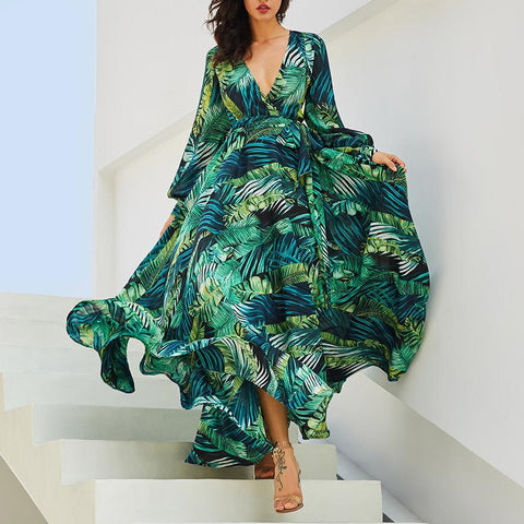 Bohemian Lantern Sleeve V-Neck Green Leaf Print Dress