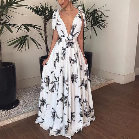 Bohemian V Neck Belted Printed Colour Bare Back Maxi Dress