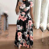 Plus Size Commuting Stand Collar Short Sleeve Printed Colour Belted Dress