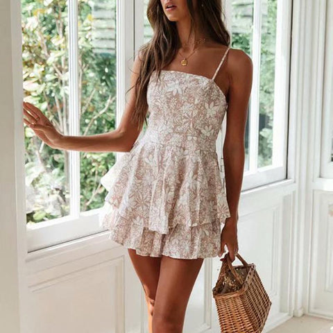 Classy Hollow Out Floral Pattern Ruffled Mini Dress
